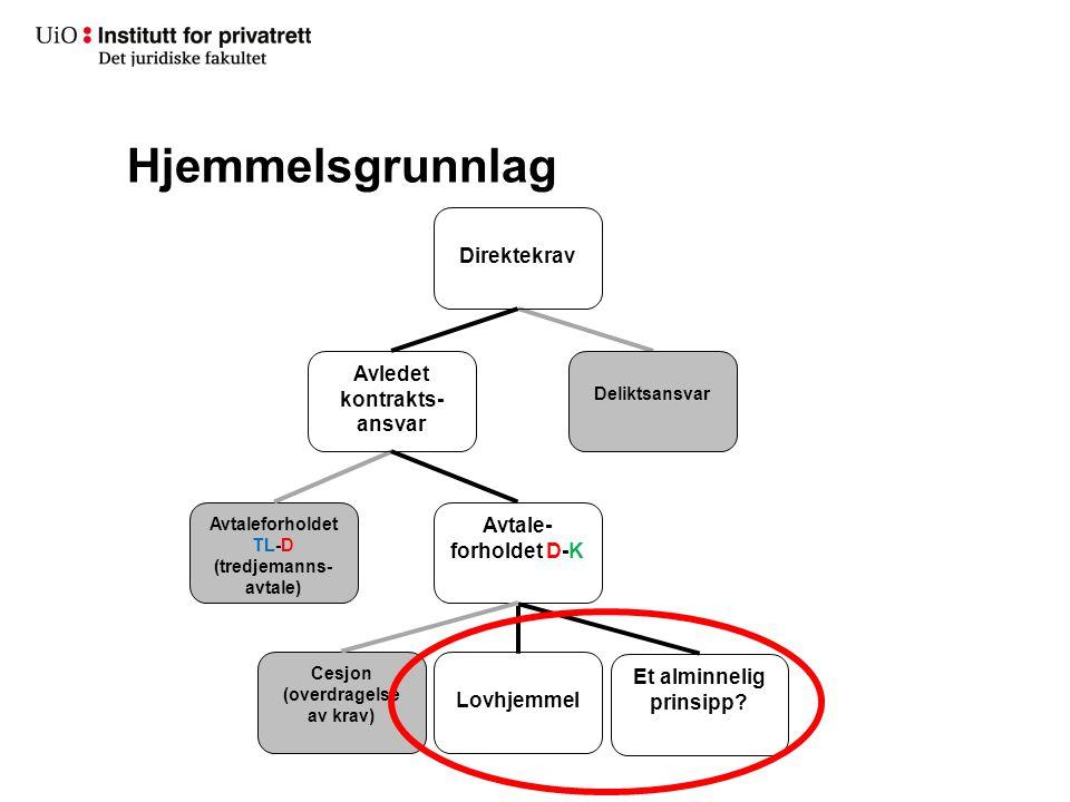 Hjemmelsgrunnlag Deliktsansvar Avtaleforholdet TL-D (tredjemanns- avtale) Direktekrav Avledet kontrakts- ansvar Avtale- forholdet D-K Lovhjemmel Et al
