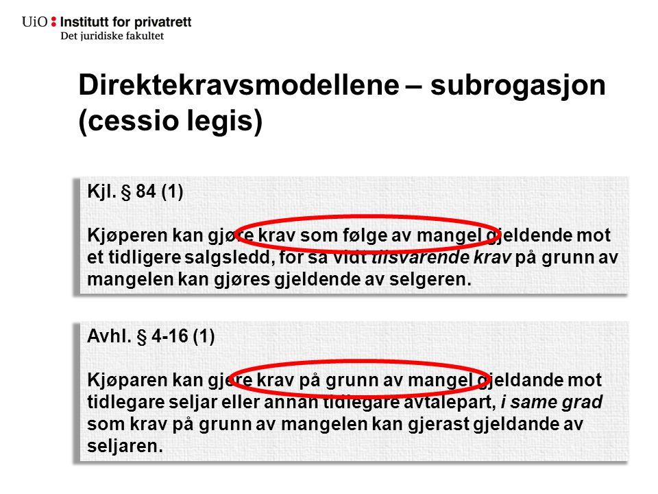 Direktekravsmodellene – subrogasjon (cessio legis) Den bakenforliggende tanken bak modellen («overdragelse i kraft av loven»): «TL» D K Krav +