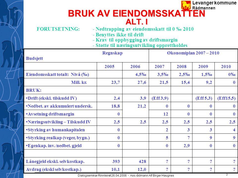 Levanger kommune Rådmannen Dialogseminar Rinnleiret 26.04.2006 - Ass.rådmann Alf Birger Haugnes 4 BRUK AV EIENDOMSSKATTEN ALT.