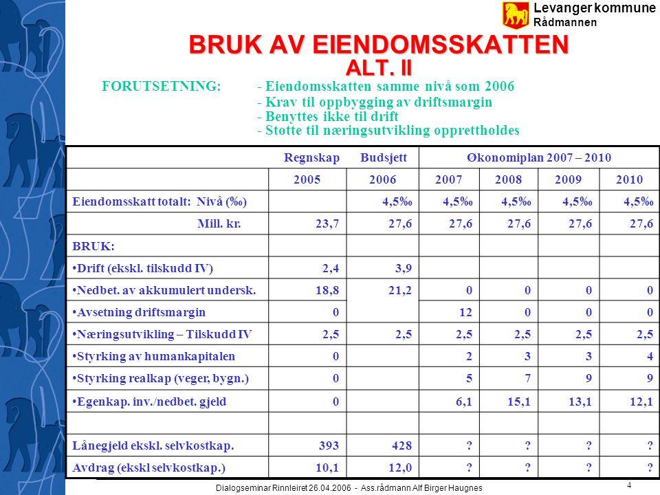 Levanger kommune Rådmannen Dialogseminar Rinnleiret 26.04.2006 - Ass.rådmann Alf Birger Haugnes 4 BRUK AV EIENDOMSSKATTEN ALT. II FORUTSETNING:- Eiend