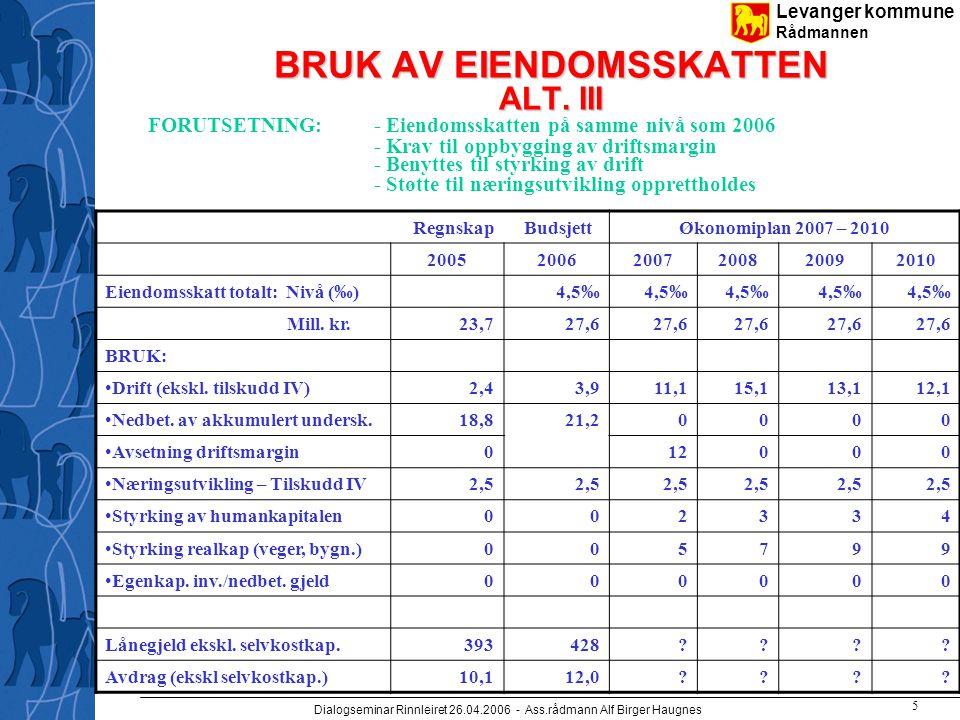 Levanger kommune Rådmannen Dialogseminar Rinnleiret 26.04.2006 - Ass.rådmann Alf Birger Haugnes 6 STØRRE INVESTERINGSTILTAK UTBYGGING/REHABILITERING AV SKOLEBYGNINGER OG UTEAREAL – 100 MILL.