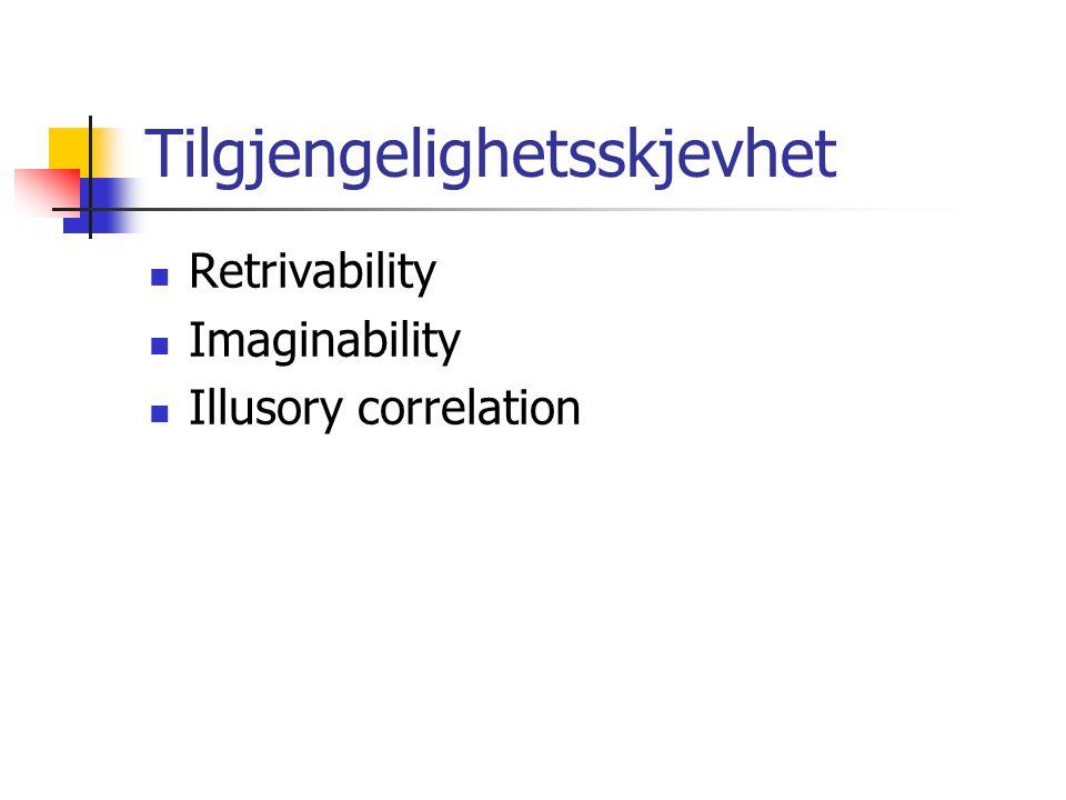 Tilgjengelighetsskjevhet Retrivability Imaginability Illusory correlation