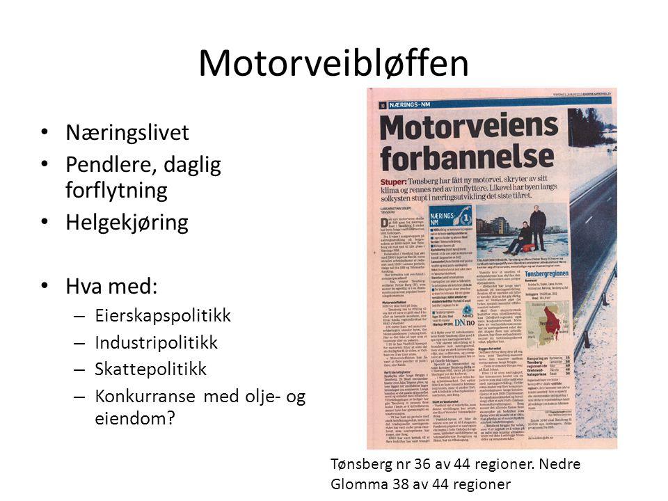 Motorveibløffen Næringslivet Pendlere, daglig forflytning Helgekjøring Hva med: – Eierskapspolitikk – Industripolitikk – Skattepolitikk – Konkurranse