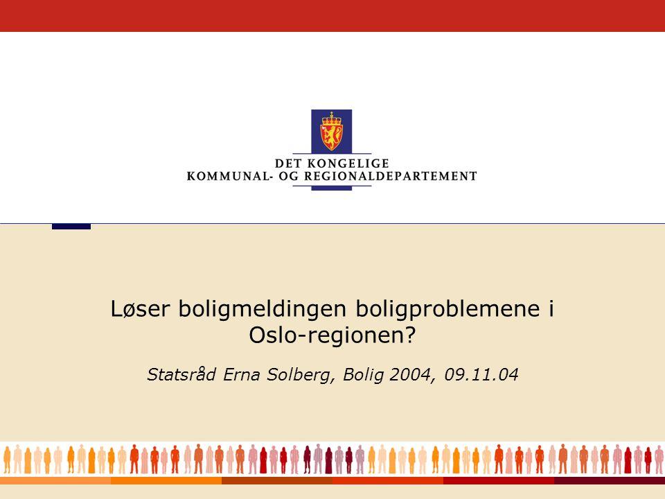 1 Løser Statsråd Erna Solberg, Bolig 2004, 09.11.04 Løser boligmeldingen boligproblemene i Oslo-regionen
