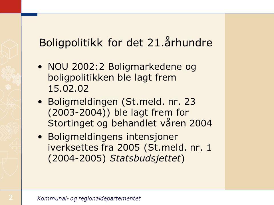 Kommunal- og regionaldepartementet 2 Boligpolitikk for det 21.århundre NOU 2002:2 Boligmarkedene og boligpolitikken ble lagt frem 15.02.02 Boligmeldingen (St.meld.