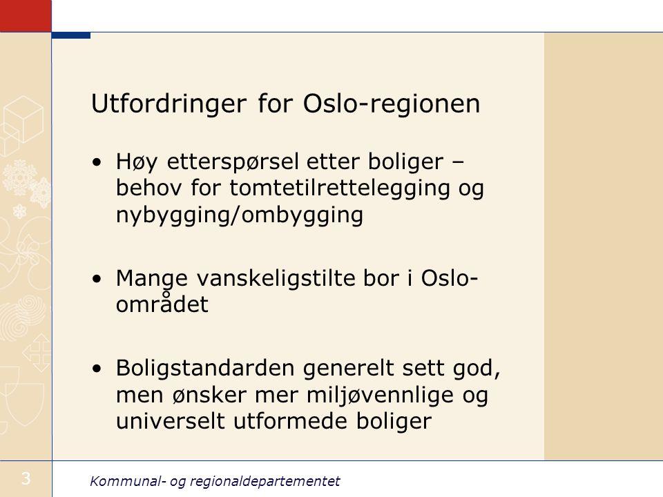 Kommunal- og regionaldepartementet 3 Utfordringer for Oslo-regionen Høy etterspørsel etter boliger – behov for tomtetilrettelegging og nybygging/ombygging Mange vanskeligstilte bor i Oslo- området Boligstandarden generelt sett god, men ønsker mer miljøvennlige og universelt utformede boliger