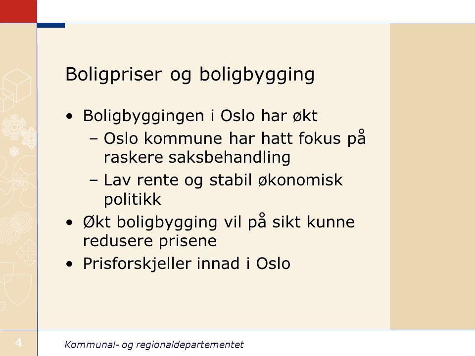 Kommunal- og regionaldepartementet 4 Boligpriser og boligbygging Boligbyggingen i Oslo har økt –Oslo kommune har hatt fokus på raskere saksbehandling –Lav rente og stabil økonomisk politikk Økt boligbygging vil på sikt kunne redusere prisene Prisforskjeller innad i Oslo
