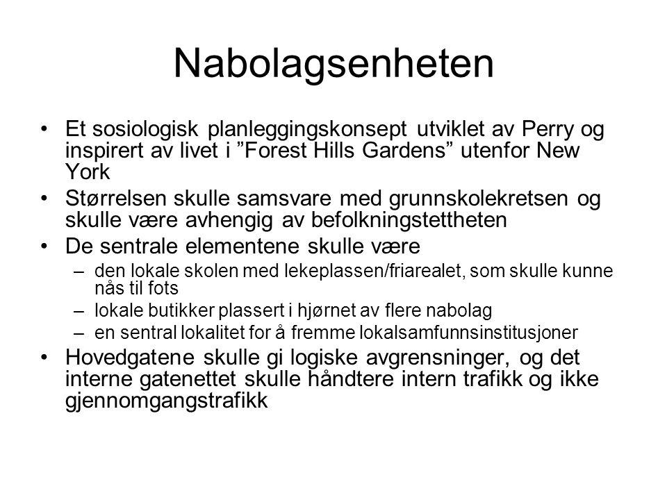 """Nabolagsenheten Et sosiologisk planleggingskonsept utviklet av Perry og inspirert av livet i """"Forest Hills Gardens"""" utenfor New York Størrelsen skulle"""