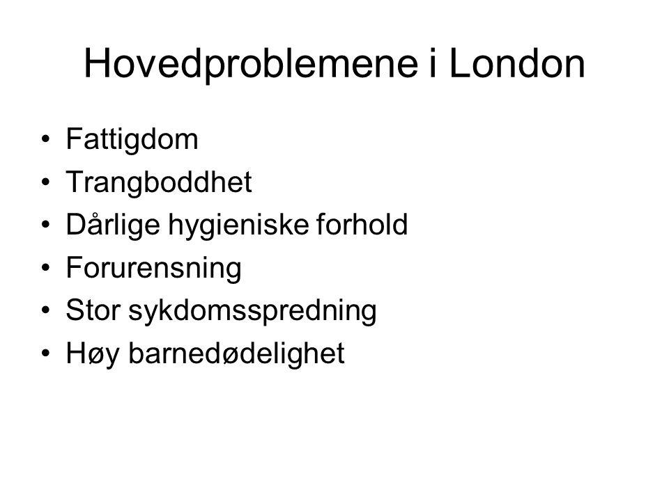Hovedproblemene i London Fattigdom Trangboddhet Dårlige hygieniske forhold Forurensning Stor sykdomsspredning Høy barnedødelighet