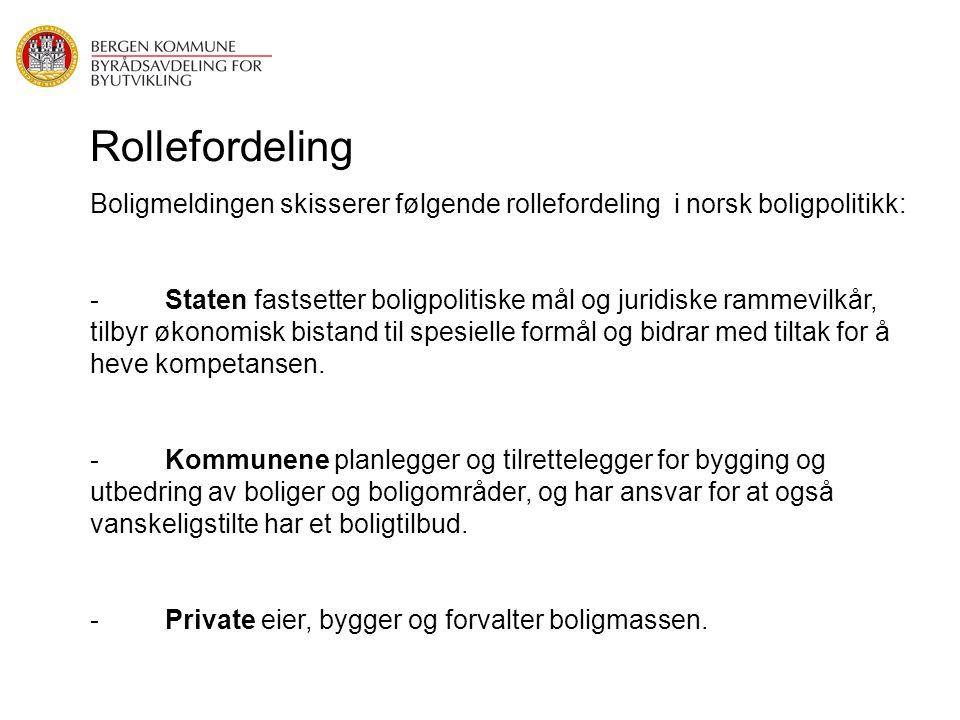 Rollefordeling Boligmeldingen skisserer følgende rollefordeling i norsk boligpolitikk: - Staten fastsetter boligpolitiske mål og juridiske rammevilkår