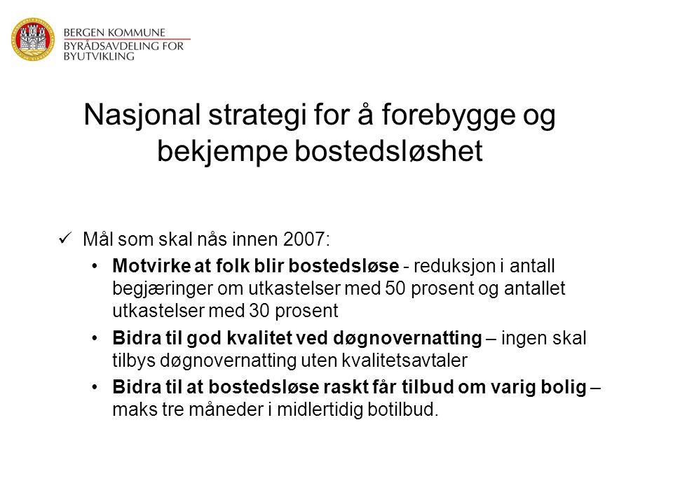 Nasjonal strategi for å forebygge og bekjempe bostedsløshet Mål som skal nås innen 2007: Motvirke at folk blir bostedsløse - reduksjon i antall begjær