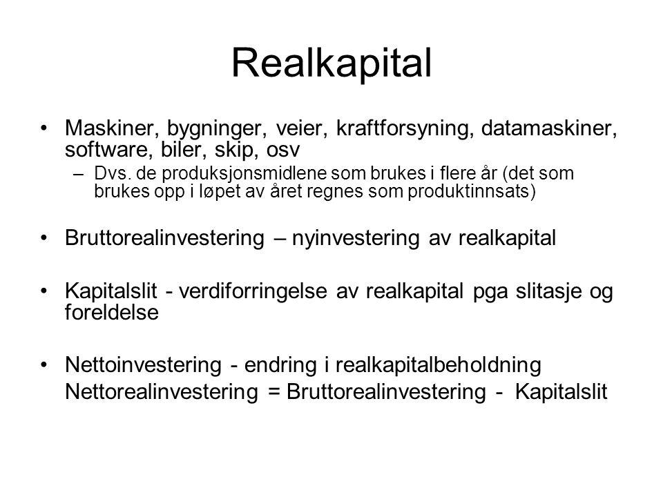 Realkapital Maskiner, bygninger, veier, kraftforsyning, datamaskiner, software, biler, skip, osv –Dvs. de produksjonsmidlene som brukes i flere år (de