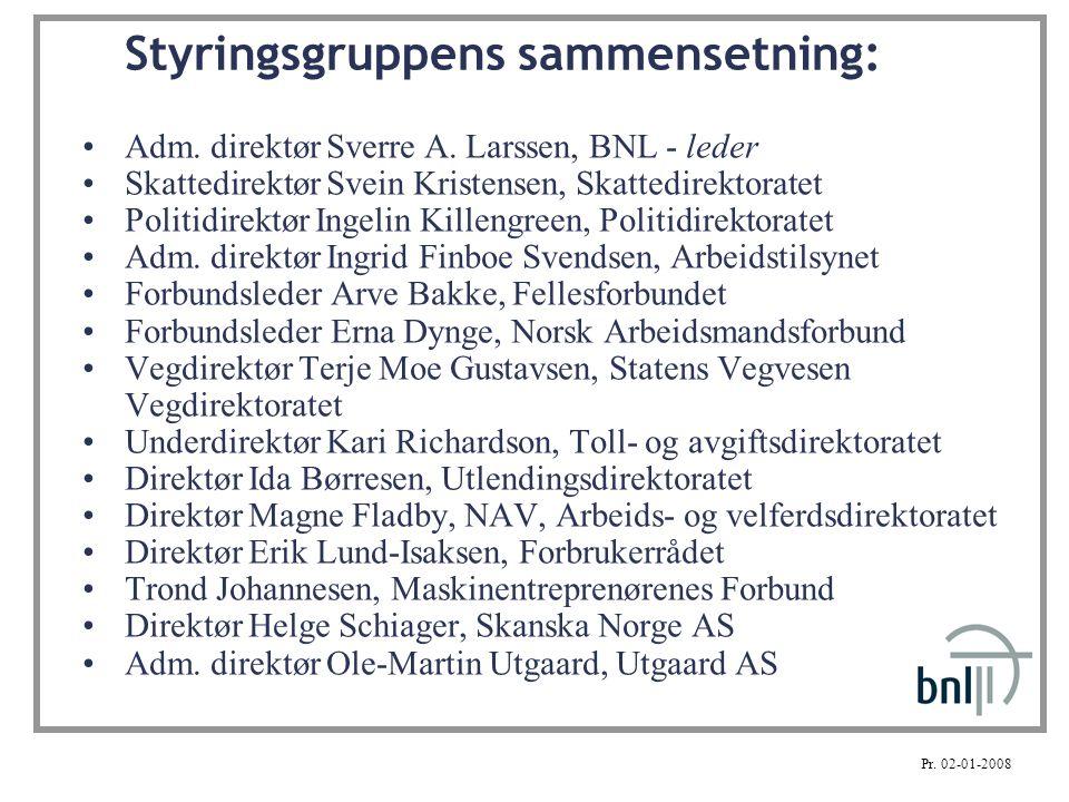 Styringsgruppens sammensetning: Adm. direktør Sverre A. Larssen, BNL - leder Skattedirektør Svein Kristensen, Skattedirektoratet Politidirektør Ingeli