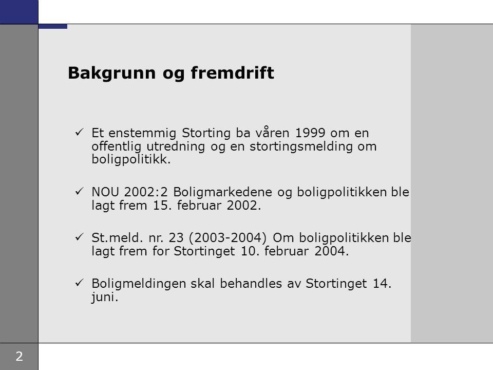 2 Et enstemmig Storting ba våren 1999 om en offentlig utredning og en stortingsmelding om boligpolitikk.