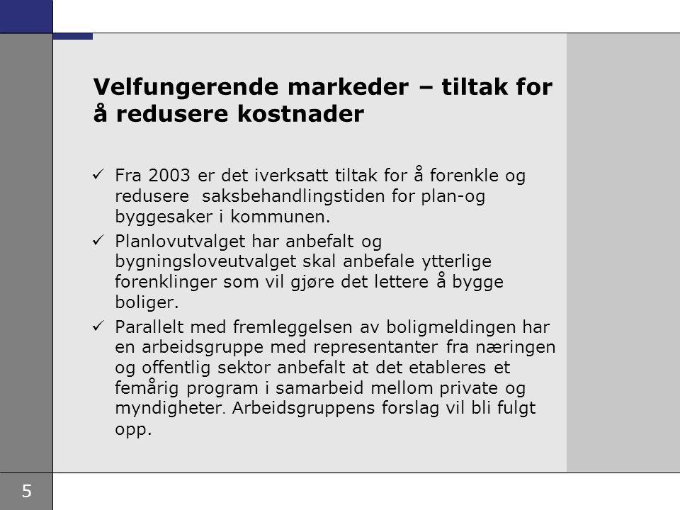 5 Velfungerende markeder – tiltak for å redusere kostnader Fra 2003 er det iverksatt tiltak for å forenkle og redusere saksbehandlingstiden for plan-og byggesaker i kommunen.