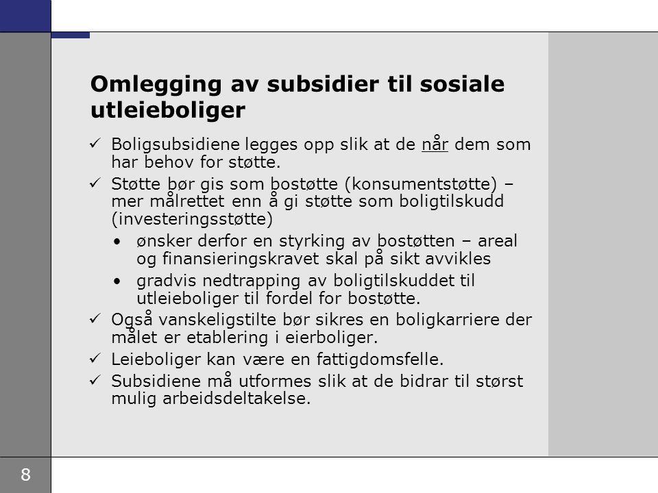 9 Vanskeligstilte på boligmarkedet  Kommunene har hovedansvaret for å skaffe boliger til vanskeligstilte.