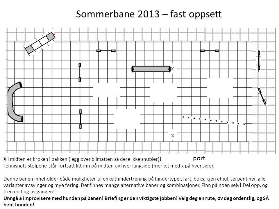 port Sommerbane 2013 – fast oppsett X i midten er kroken i bakken (legg over bilmatten så dere ikke snubler)! Tennisnett-stolpene står fortsatt litt i