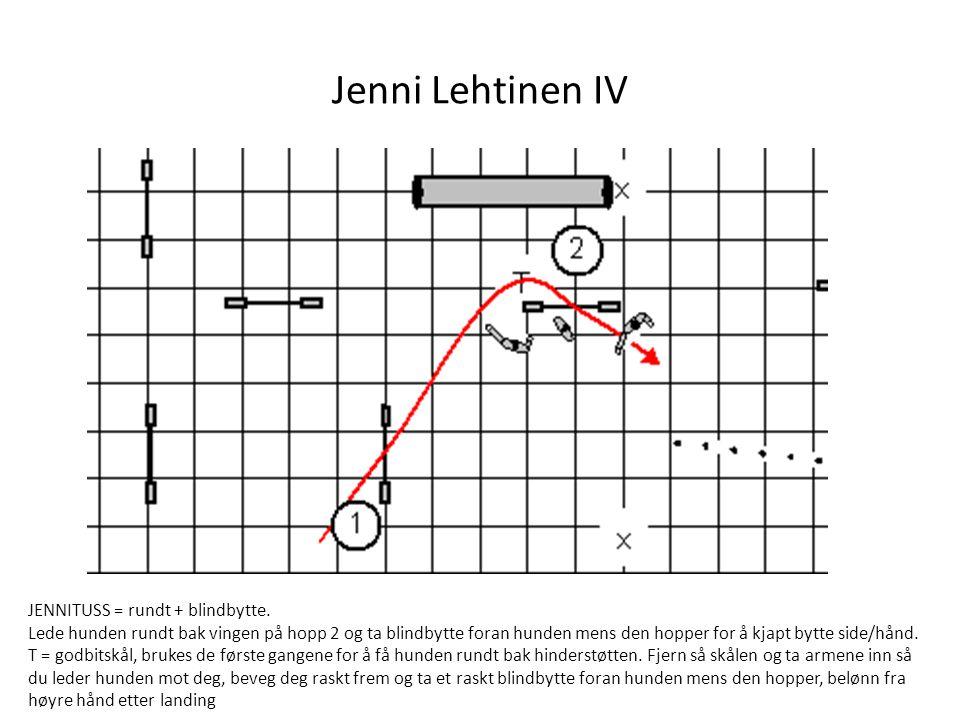 Jenni Lehtinen IV JENNITUSS = rundt + blindbytte. Lede hunden rundt bak vingen på hopp 2 og ta blindbytte foran hunden mens den hopper for å kjapt byt