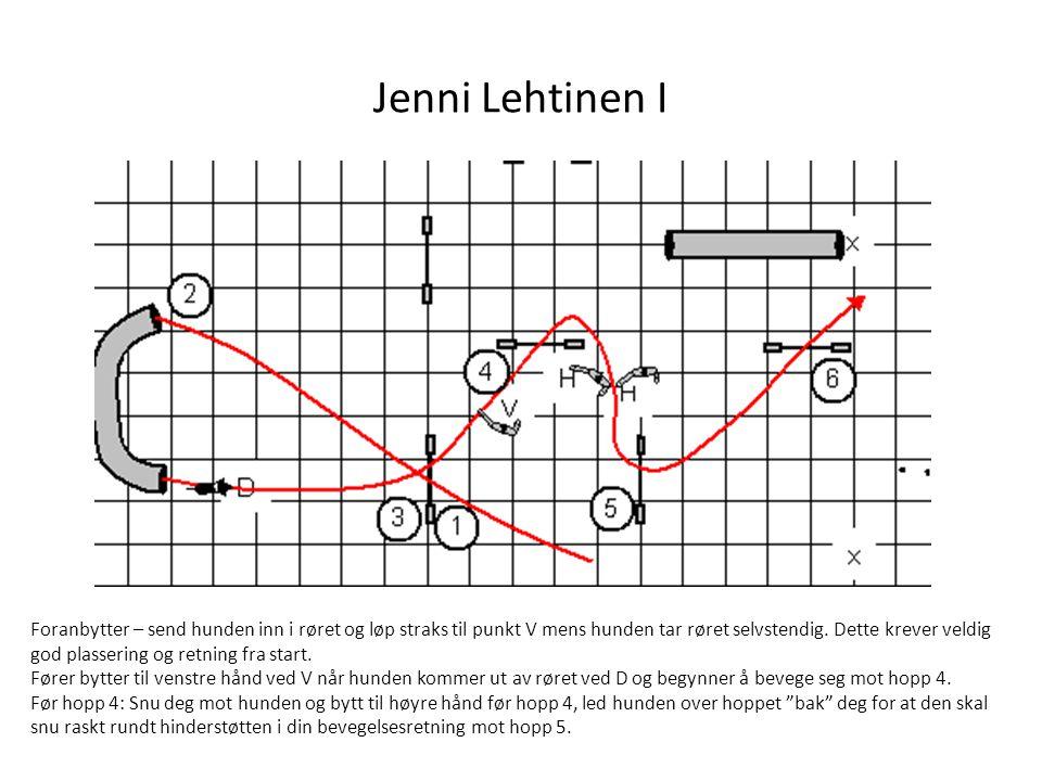 Jenni Lehtinen II V-set/Pålesving ved W før hopp 2: led hunden rundt deg med motsatt arm (høyre), slipp den frem med nærmeste arm (venstre) når linjen mot 3 er riktig.