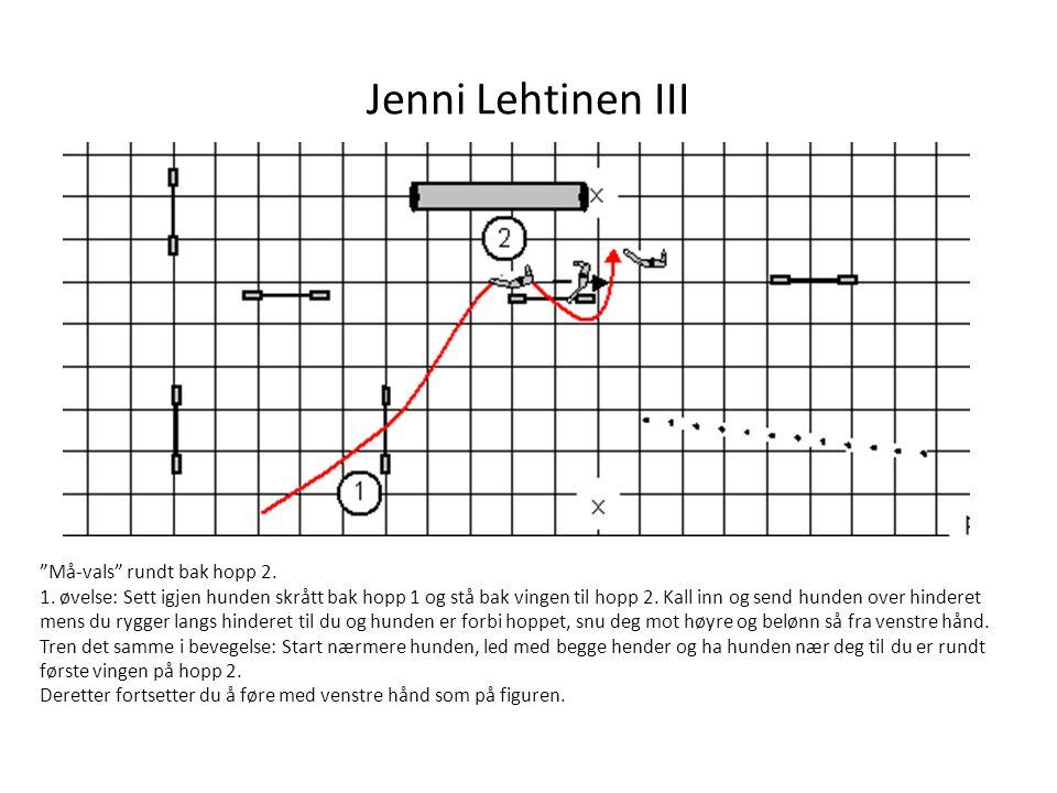 """Jenni Lehtinen III """"Må-vals"""" rundt bak hopp 2. 1. øvelse: Sett igjen hunden skrått bak hopp 1 og stå bak vingen til hopp 2. Kall inn og send hunden ov"""