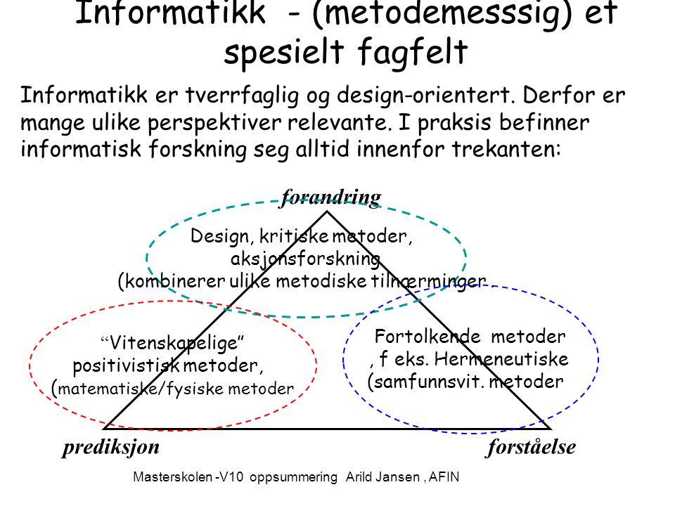 Masterskolen -V10 oppsummering Arild Jansen, AFIN Informatikk - (metodemesssig) et spesielt fagfelt Informatikk er tverrfaglig og design-orientert.