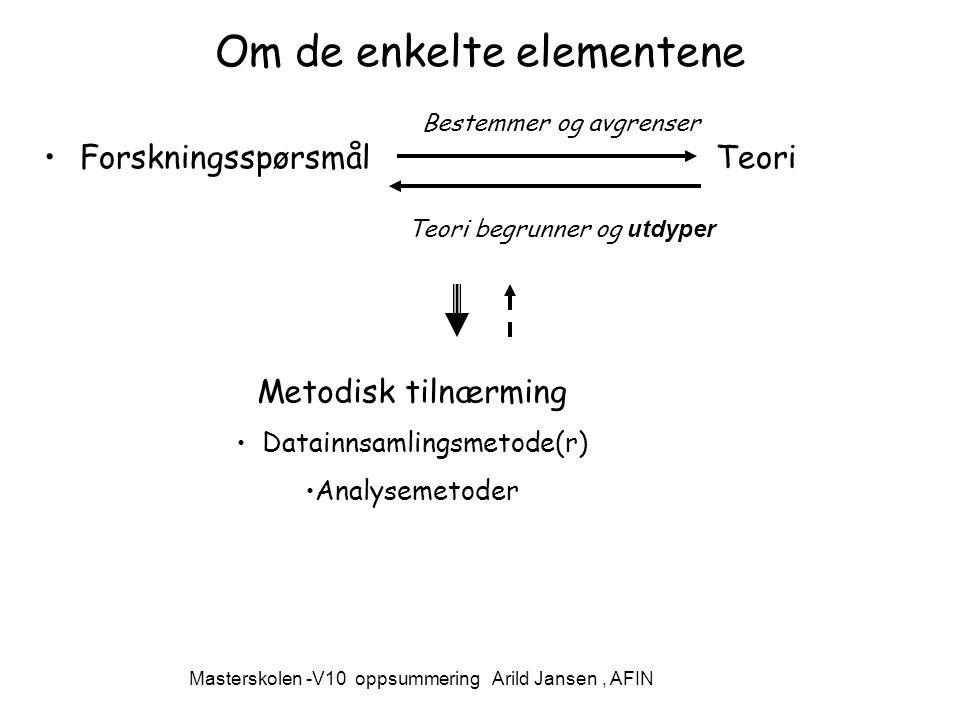 Masterskolen -V10 oppsummering Arild Jansen, AFIN Om de enkelte elementene Forskningsspørsmål Teori Bestemmer og avgrenser Teori begrunner og utdyper Metodisk tilnærming Datainnsamlingsmetode(r) Analysemetoder