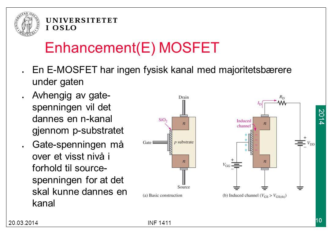 2009 2014 Enhancement(E) MOSFET En E-MOSFET har ingen fysisk kanal med majoritetsbærere under gaten 20.03.2014INF 1411 10 Avhengig av gate- spenningen