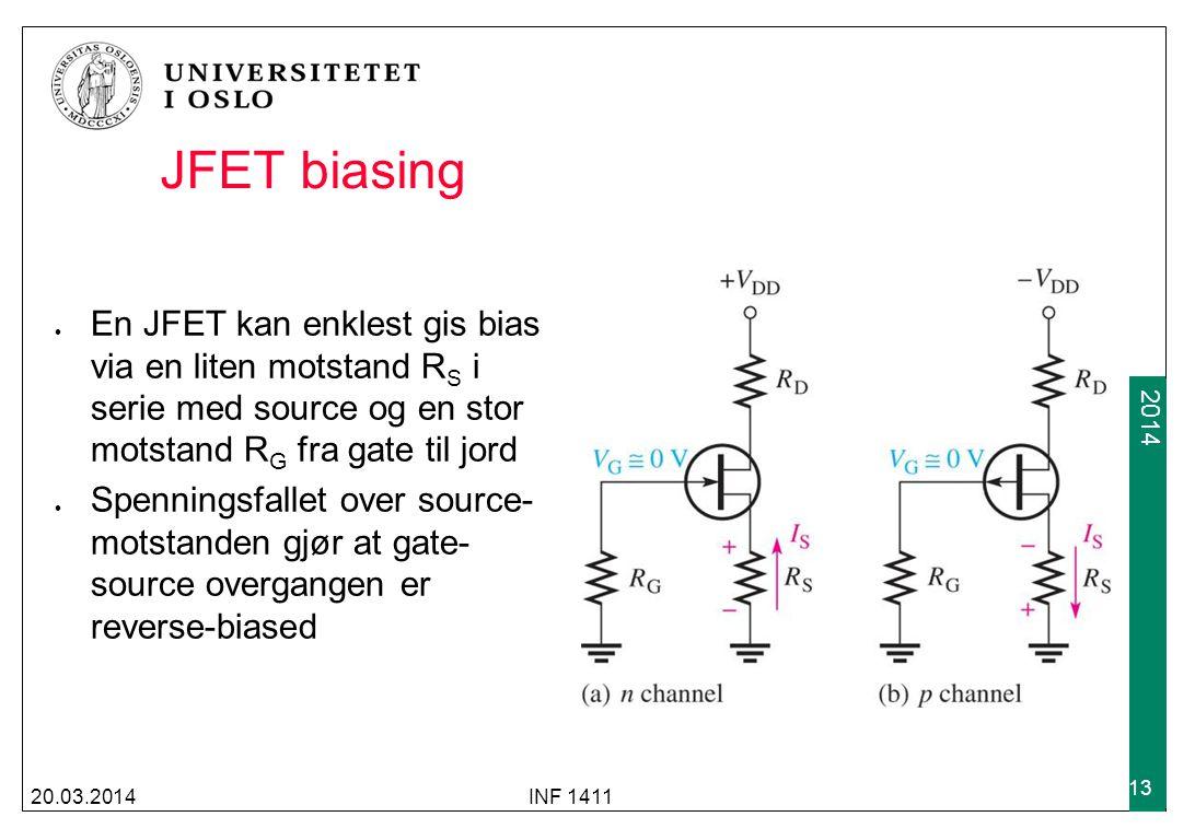 2009 2014 JFET biasing En JFET kan enklest gis bias via en liten motstand R S i serie med source og en stor motstand R G fra gate til jord Spenningsfa