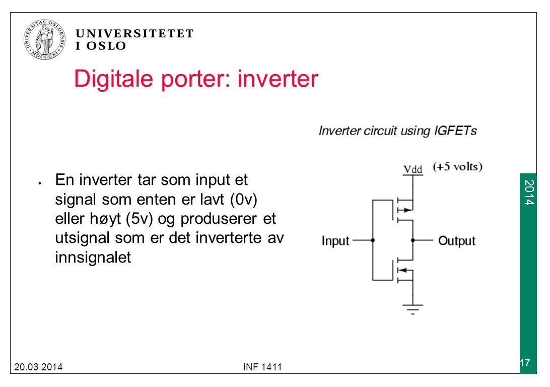 2009 2014 Digitale porter: inverter En inverter tar som input et signal som enten er lavt (0v) eller høyt (5v) og produserer et utsignal som er det in