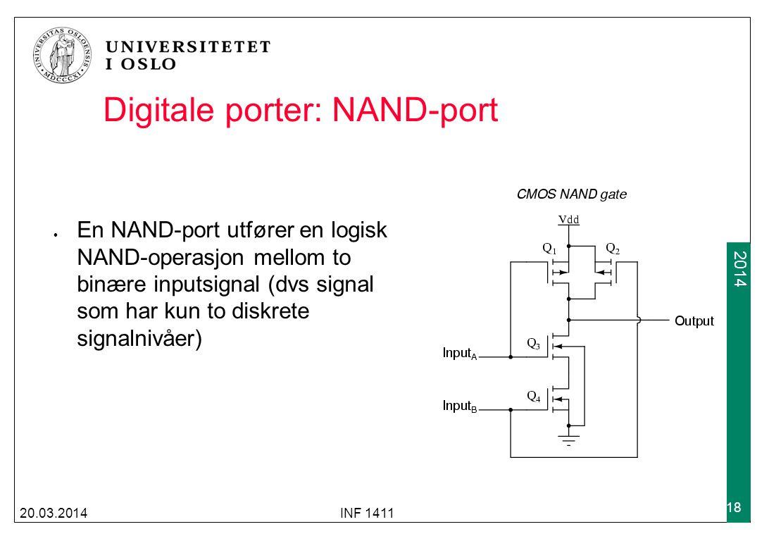 2009 2014 Digitale porter: NAND-port En NAND-port utfører en logisk NAND-operasjon mellom to binære inputsignal (dvs signal som har kun to diskrete si