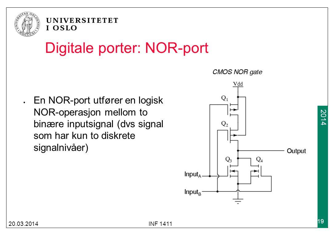 2009 2014 Digitale porter: NOR-port 20.03.2014INF 1411 19 En NOR-port utfører en logisk NOR-operasjon mellom to binære inputsignal (dvs signal som har