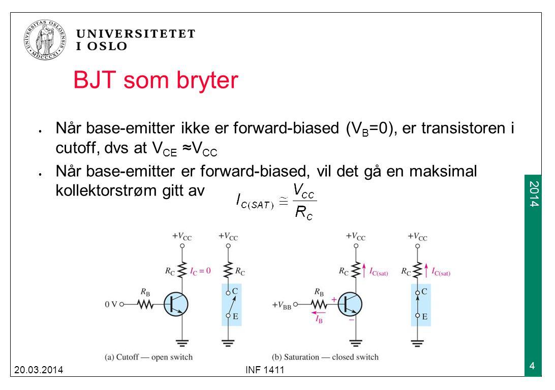 2009 2014 BJT som bryter Når base-emitter ikke er forward-biased (V B =0), er transistoren i cutoff, dvs at V CE ≈V CC Når base-emitter er forward-bia