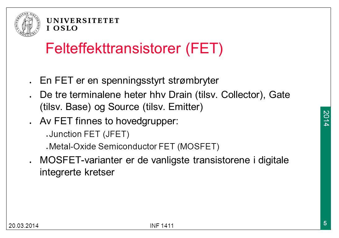 2009 2014 JFET JFET har en ledende kanal med source og drain-tilkobling i hver ende av kanalen Strømmen i kanalen kontrolleres av spenningen på gaten Som for en BJT finnes to typer JFET, kalt hhv n-type eller p- type, avhengig av hva som er majoritetsbærer i kanalen Gatespenningen regulererer motstanden i kanalen under gaten 20.03.2014INF 1411 6