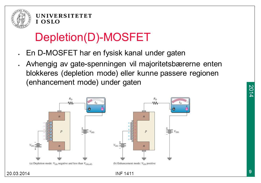 2009 2014 Enhancement(E) MOSFET En E-MOSFET har ingen fysisk kanal med majoritetsbærere under gaten 20.03.2014INF 1411 10 Avhengig av gate- spenningen vil det dannes en n-kanal gjennom p-substratet Gate-spenningen må over et visst nivå i forhold til source- spenningen for at det skal kunne dannes en kanal