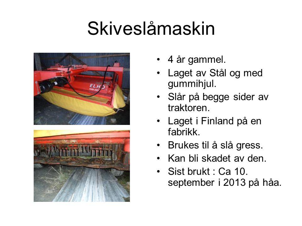 Skiveslåmaskin 4 år gammel.Laget av Stål og med gummihjul.