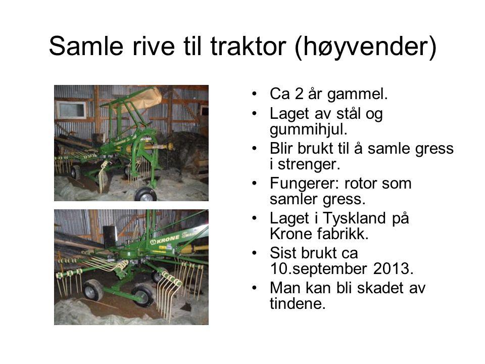 Samle rive til traktor (høyvender) Ca 2 år gammel.