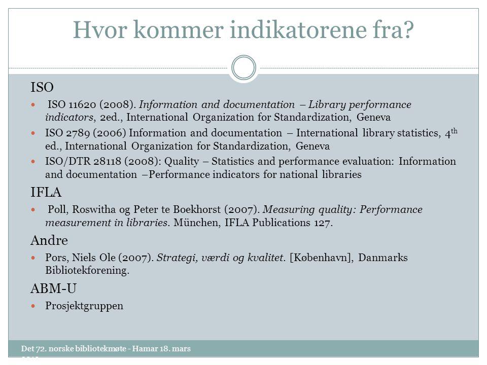 Hvor kommer indikatorene fra. ISO ISO 11620 (2008).