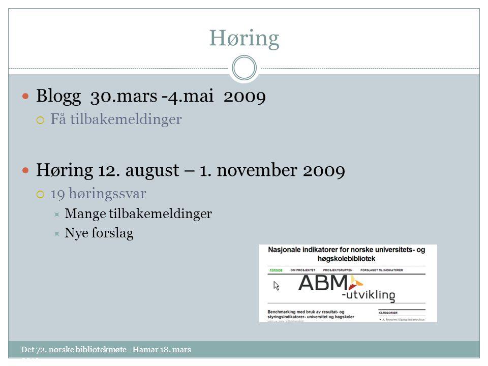 Høring Blogg 30.mars -4.mai 2009  Få tilbakemeldinger Høring 12.