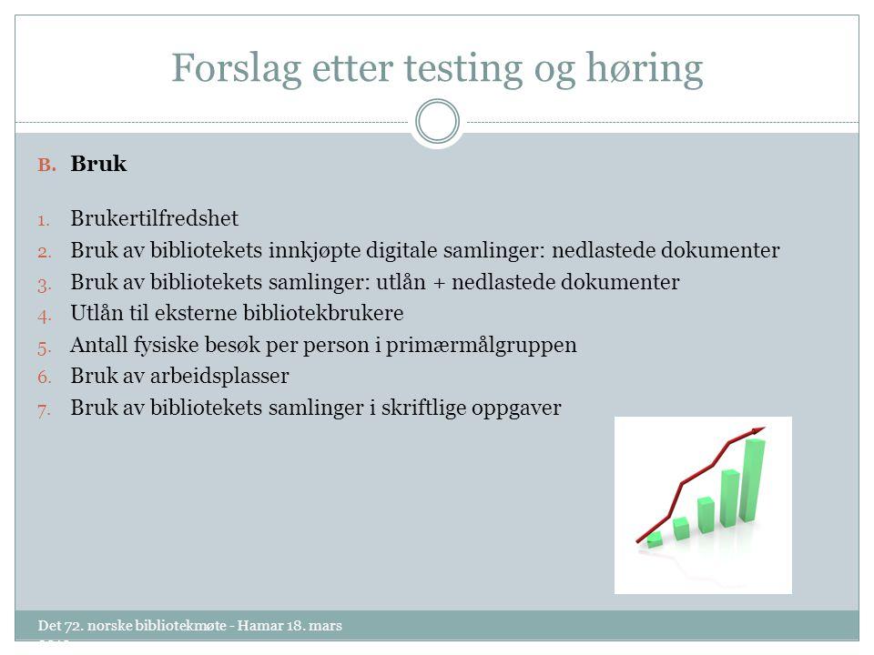 Forslag etter testing og høring B. Bruk 1. Brukertilfredshet 2.