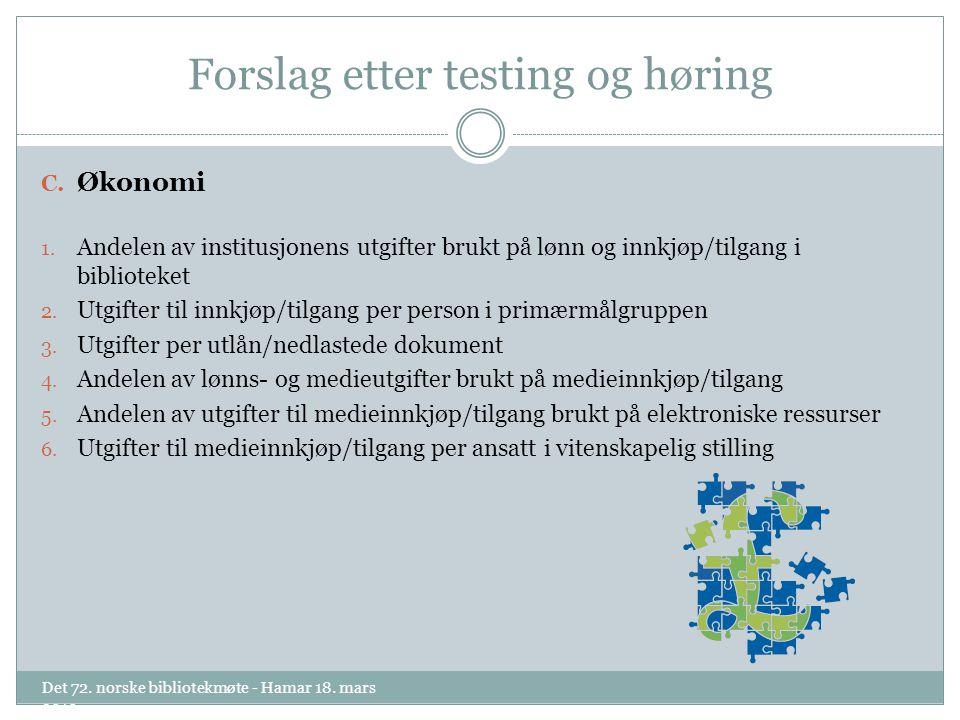 Forslag etter testing og høring C. Økonomi 1.