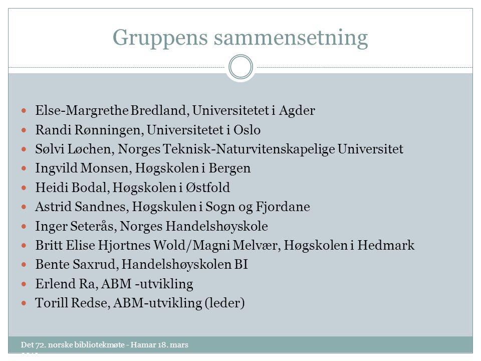 Gruppens sammensetning Det 72. norske bibliotekmøte - Hamar 18.