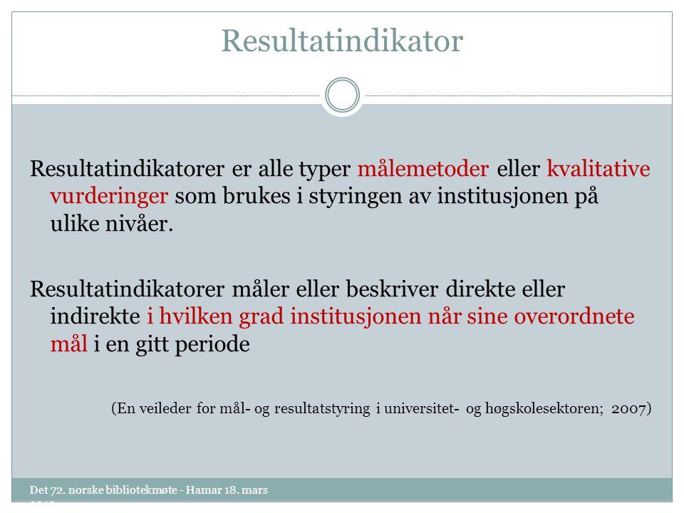 Resultatindikator Resultatindikatorer er alle typer målemetoder eller kvalitative vurderinger som brukes i styringen av institusjonen på ulike nivåer.