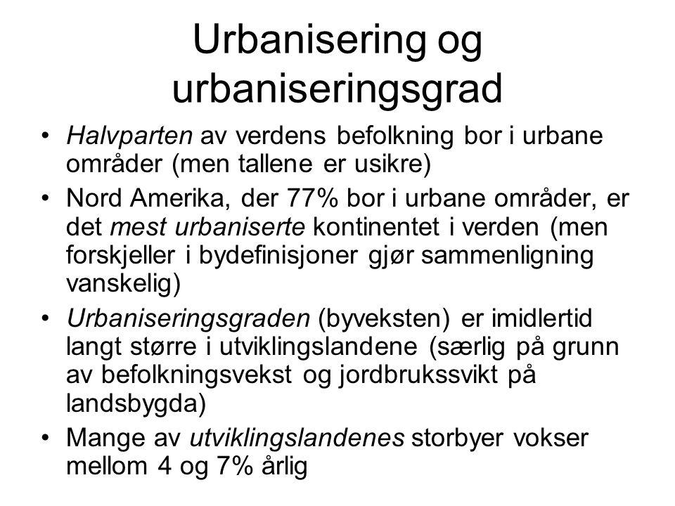 Urbanisering og urbaniseringsgrad Halvparten av verdens befolkning bor i urbane områder (men tallene er usikre) Nord Amerika, der 77% bor i urbane områder, er det mest urbaniserte kontinentet i verden (men forskjeller i bydefinisjoner gjør sammenligning vanskelig) Urbaniseringsgraden (byveksten) er imidlertid langt større i utviklingslandene (særlig på grunn av befolkningsvekst og jordbrukssvikt på landsbygda) Mange av utviklingslandenes storbyer vokser mellom 4 og 7% årlig