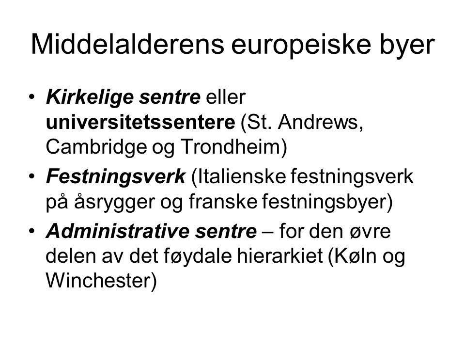 Middelalderens europeiske byer Kirkelige sentre eller universitetssentere (St.