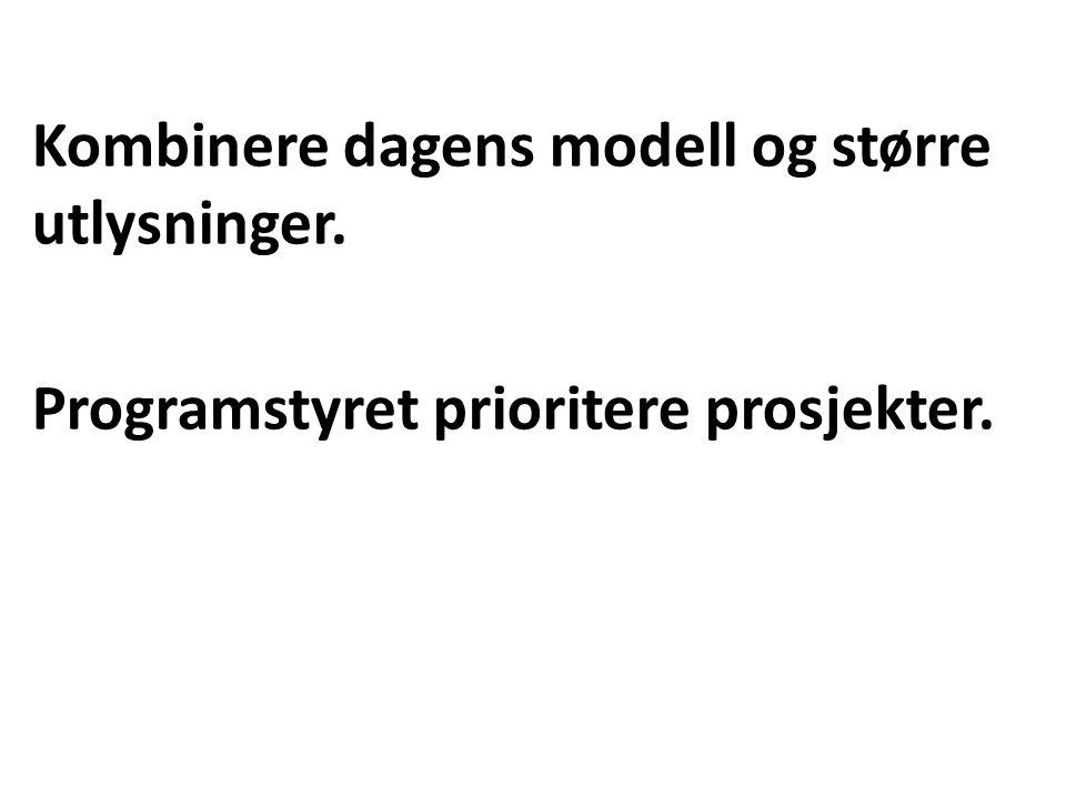 Kombinere dagens modell og større utlysninger. Programstyret prioritere prosjekter.