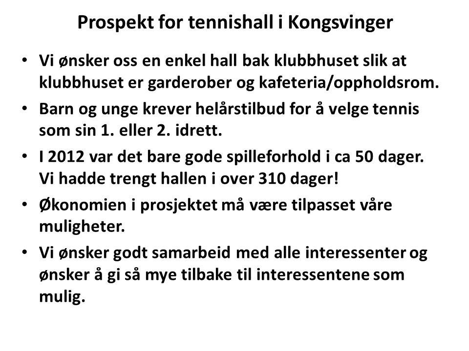 Prospekt for tennishall i Kongsvinger Vi ønsker oss en enkel hall bak klubbhuset slik at klubbhuset er garderober og kafeteria/oppholdsrom. Barn og un