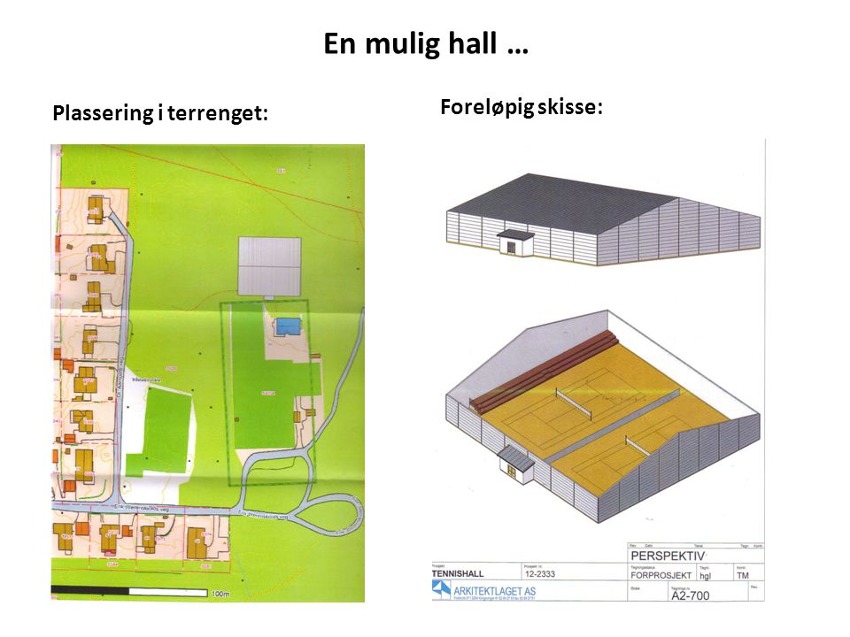 En mulig hall … Plassering i terrenget: Foreløpig skisse: