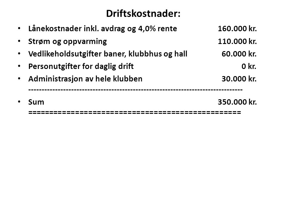 Driftskostnader: Lånekostnader inkl. avdrag og 4,0% rente160.000 kr. Strøm og oppvarming110.000 kr. Vedlikeholdsutgifter baner, klubbhus og hall 60.00