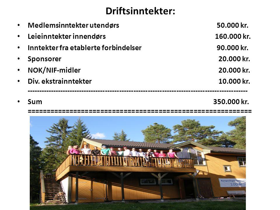 Driftsinntekter: Medlemsinntekter utendørs 50.000 kr. Leieinntekter innendørs 160.000 kr. Inntekter fra etablerte forbindelser 90.000 kr. Sponsorer 20