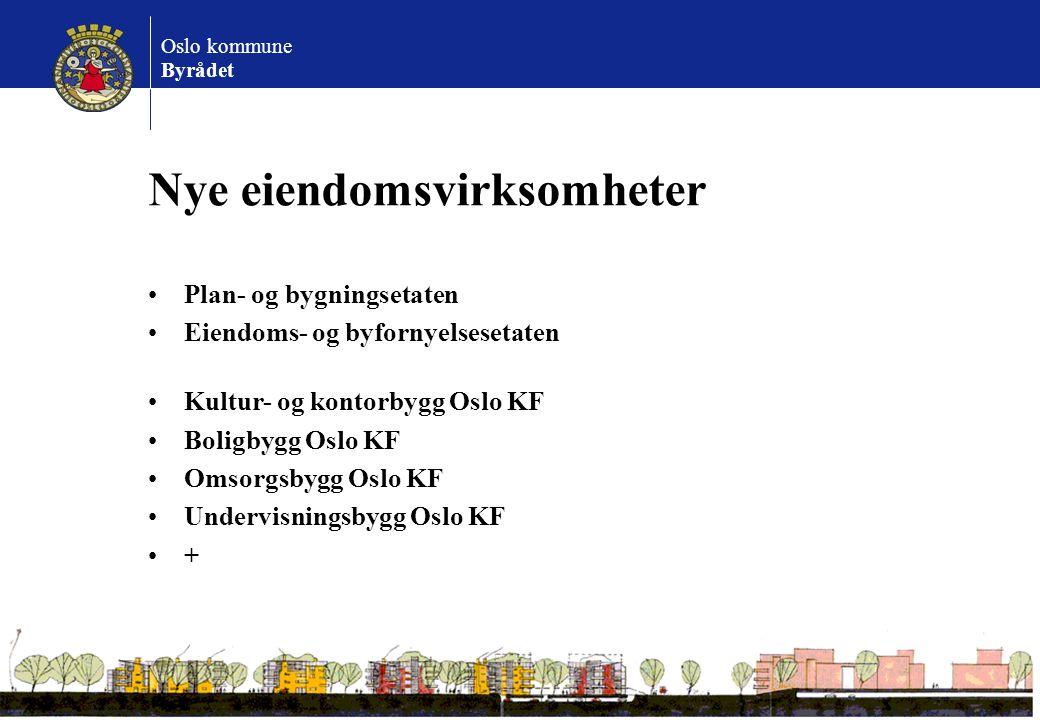 Oslo kommune Byrådet Nye eiendomsvirksomheter Plan- og bygningsetaten Eiendoms- og byfornyelsesetaten Kultur- og kontorbygg Oslo KF Boligbygg Oslo KF